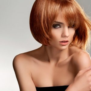 Red hair Beautiful Woman with Short Hair